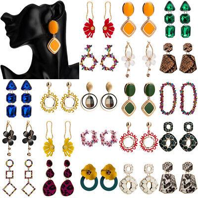 Fashion Women Multicolor Geometric Crystal Big Pendant Statement Stud Earrings
