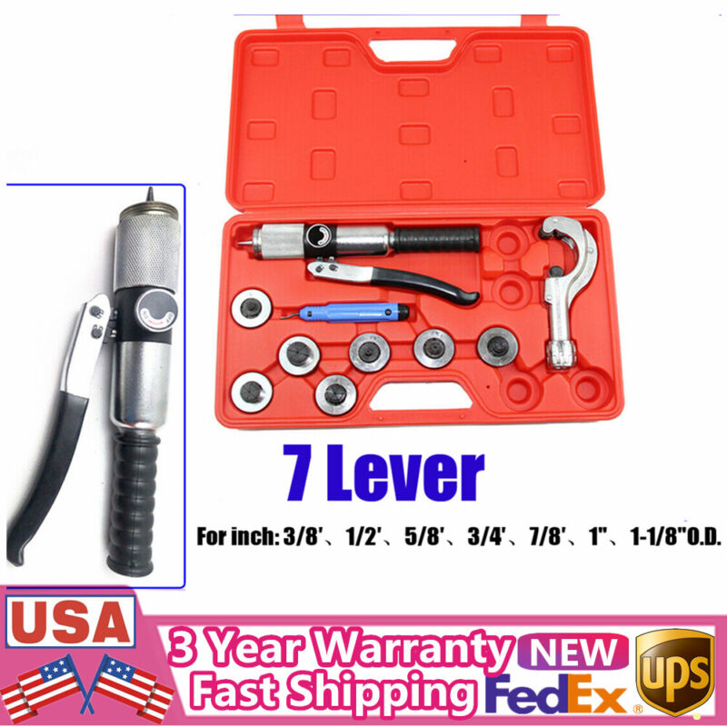 """7-Lever Hydraulic Tubing Expander Tool 3/8""""-1-1/8"""" HVAC Swaging Tube Pipe Tool"""