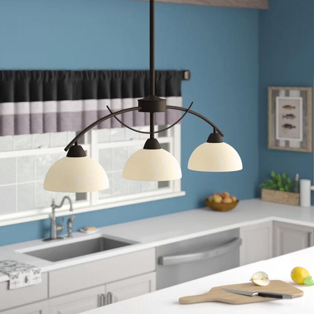 Kitchen Island Pendant Lighting 3-Light Alabaster Frosted Gl