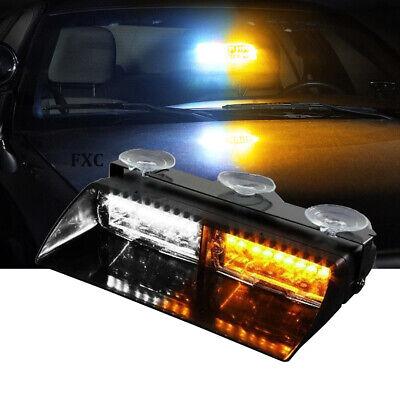 16 Led Windshield Security System Emergency Strobe Light For Dash White Amber