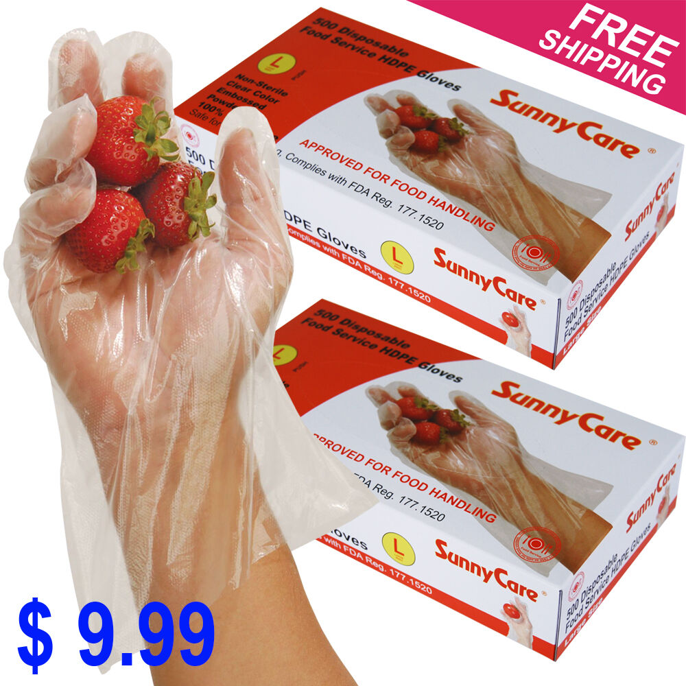 1000 Polyethylene Food Service Disposable Gloves (Vinyl Nitrile Latex Free)Large