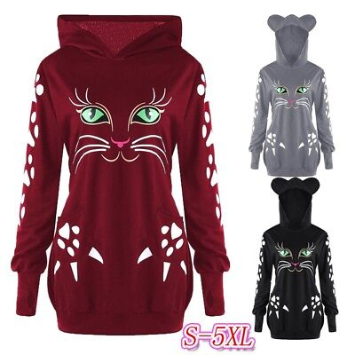Fashion Womens Sweatshirt Cat Print Hoodie With Ears Hooded Pullover Tops Blouse