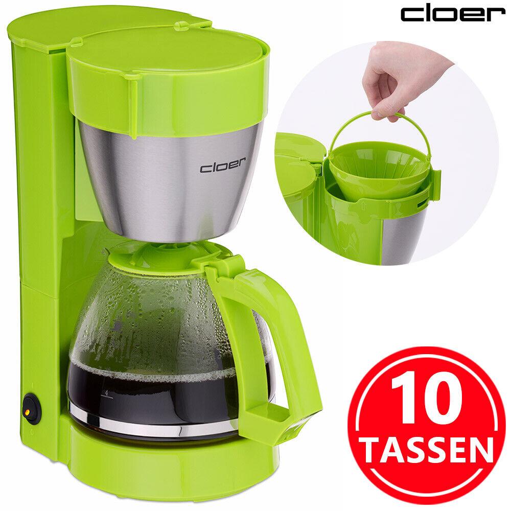 Kaffeemaschine Filterkaffee Maschine Kaffeeautomat 10 Tassen Glaskanne Grün 1x4