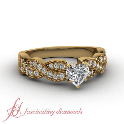 1 Ct Heart Shaped Diamond Intertwined Style Engagement Ring With Milgrain