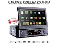"7"" Flip Out HD Android Single Din GPS Navigation Bluetooth Car Stereo With Radio DVD USB SD DAB"