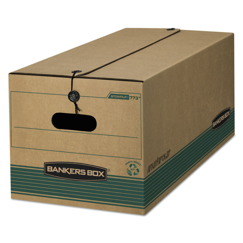 Bankers Box 00773 Stor/File Storage Box w/ String/Button (Green) (12/CT) New