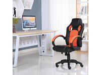 SPORTS RACING GAMING OFFICE COMPUTER LEATHER CHAIR BLACK & ORANGE BRAND NEW