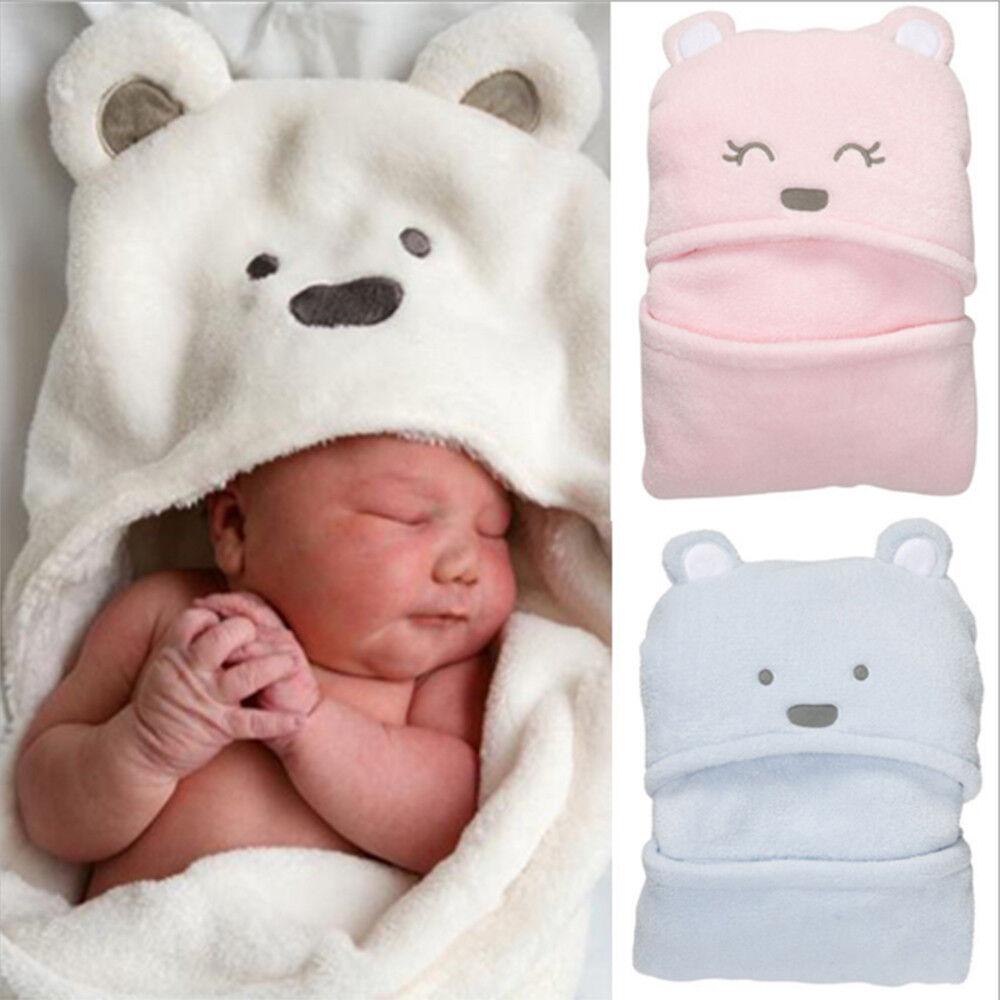 Neugeborenes Baby Flanell mit Kapuze Decke Badetuch Kinder Tier Bademantel DE