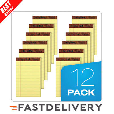 12 Pack Writing Pads Jr. Legal Rule 5 X 8 Canary Yellow Paper 50 Sheets Notepad