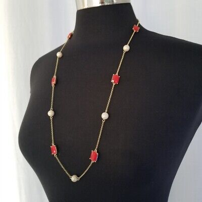 """Kate Spade Necklace Gold Red Faux Pearl Strand Retired 31"""""""