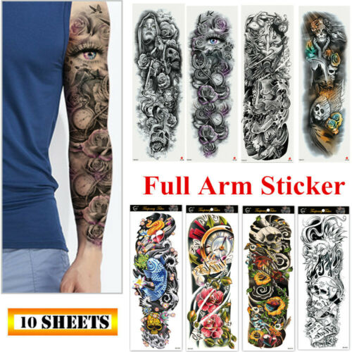 10 Sheets Fake Temporary Tattoo Large Full Arm Sticker Waterproof Black Color Health & Beauty