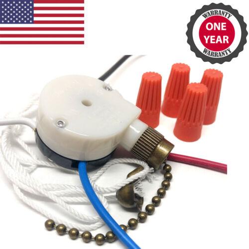 Zing Ear ZE-208s 3 Speed 4 Wire Ceiling Fan Pull Chain Switch Speed Controller