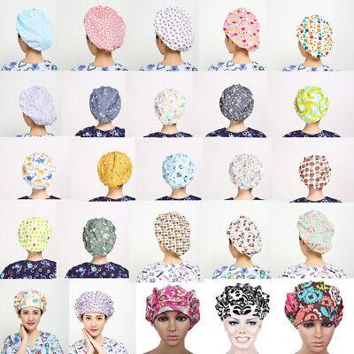 Flowers Pattern Printing Scrub Cap Bouffant Medical Surgical Surgery Hat/Cap