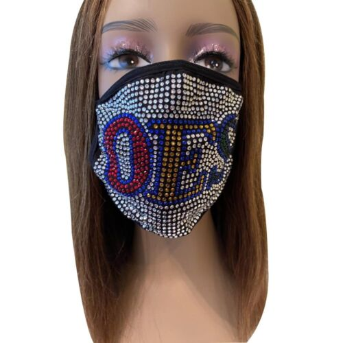 OES Order of the Eastern Star Rhinestone Bling Face Mask With Filter