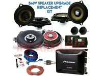 BMW 1 3 5 6 X3 X5 Car Audio Upgrade Package with Speakers & Subwoofers, 4ch Amplifier & Wiring Kit