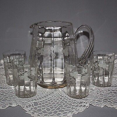 Mid Century Modernism ETCHED Crystal Clear GRAPE VINE WATER PITCHER 4 GLASSES