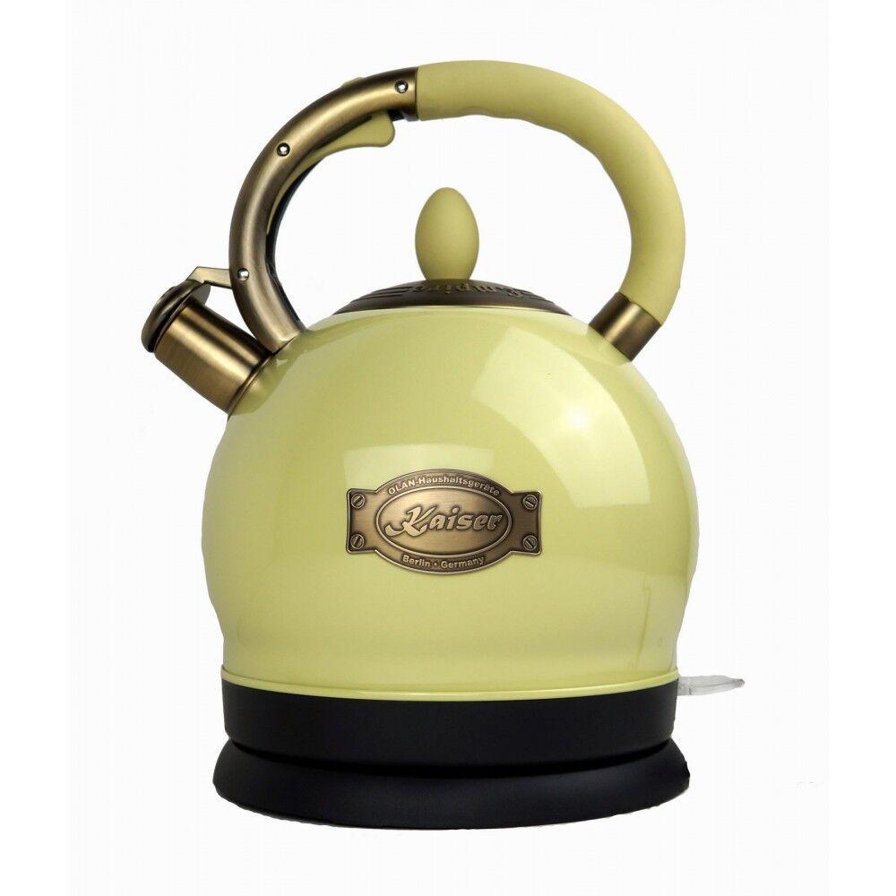 Kaiser Empire Schwarz Retro Wasserkocher Teekocher 2L Kontroll LED 1800W WOW