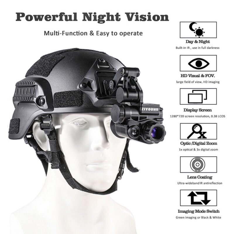 Head-mounted Night Vision Scope Sight Infrared 940NM Waterproof Monocular