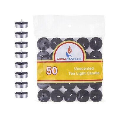 - Mega Candles - Unscented Tea Light Candles - Black, Set of 50 CGA082-BK