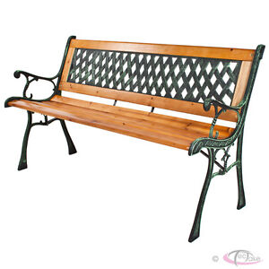 WOODEN GARDEN BENCH SEAT WITH CAST IRON LEGS WOOD FURNITURE CLASSICAL