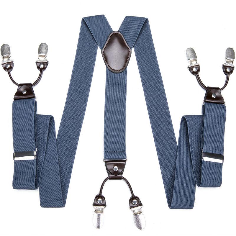 Dibangu Solid Clip-on Mens Suspenders Y Back Pants Braces Adjustable Elastic