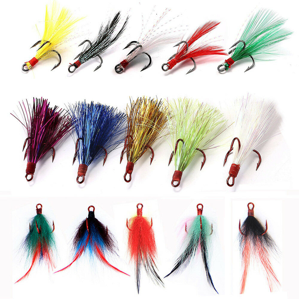20pcs Red Fishing Hooks Treble With Feather For Minnow Fishing Lures Crankbaits
