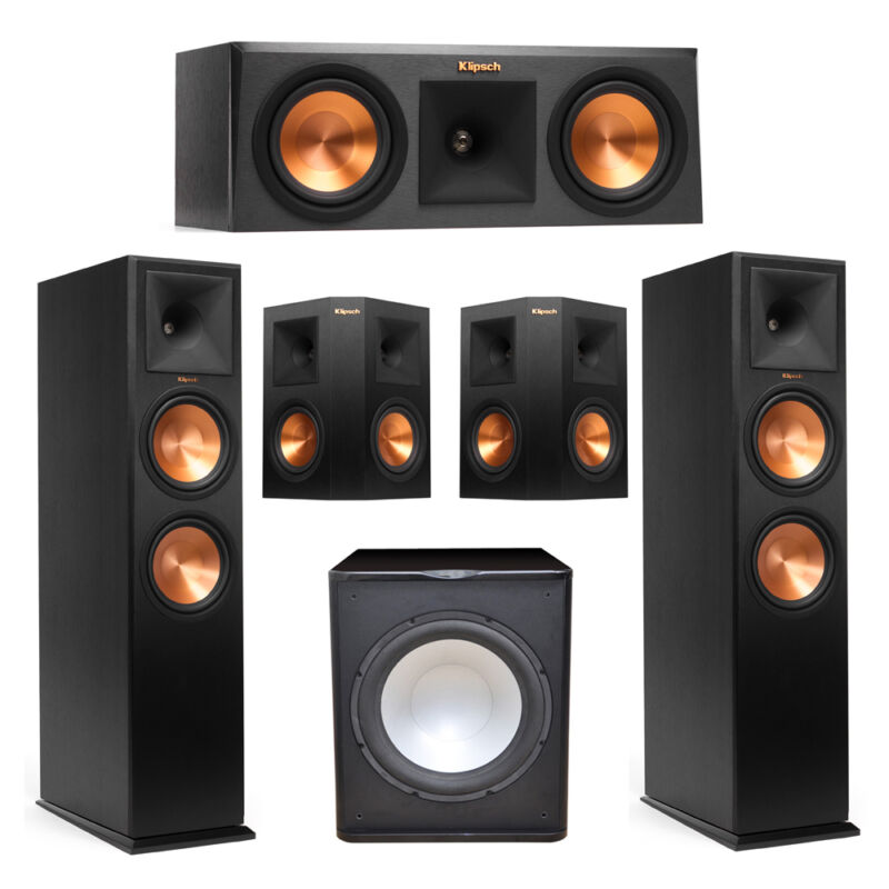 Klipsch 5.1 System With 2 Rp-280f Tower Speakers, 1 Rp-250c Center Speaker, 2 Kl