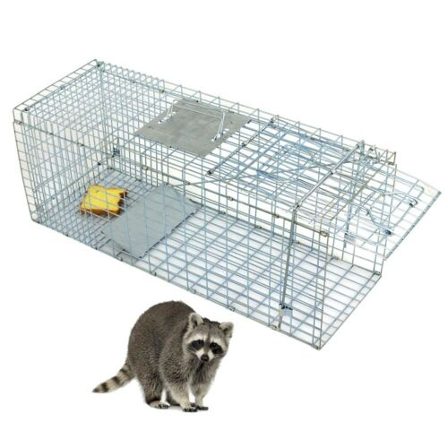Professional Humane Animal Trap 32″x12.5″x12″ Large Steel Cage Spring Loaded Home & Garden