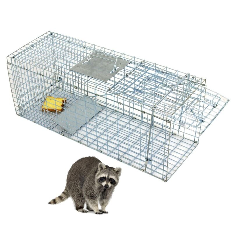 """Professional Humane Animal Trap 32""""x12.5""""x12"""" Large Steel Cage Spring Loaded"""