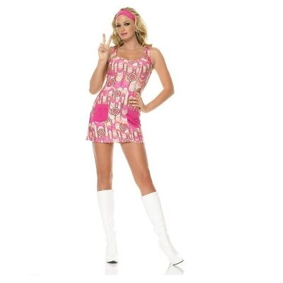 70s Retro Peace Dress Adult Womens Costume, 83328, Leg - 70s Costumes For Women