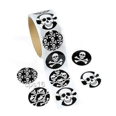 24 Pirate Skull Stickers   Party Favors    Party Supplies   Halloween   Craft](Skull Party Supplies)