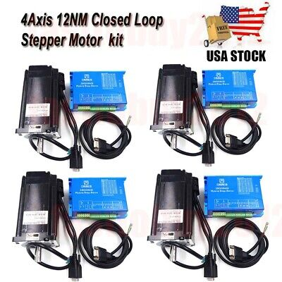 123 4axis 1712oz-in Closed Loop Stepper Motor Nema34 Driver For Cnc Milling