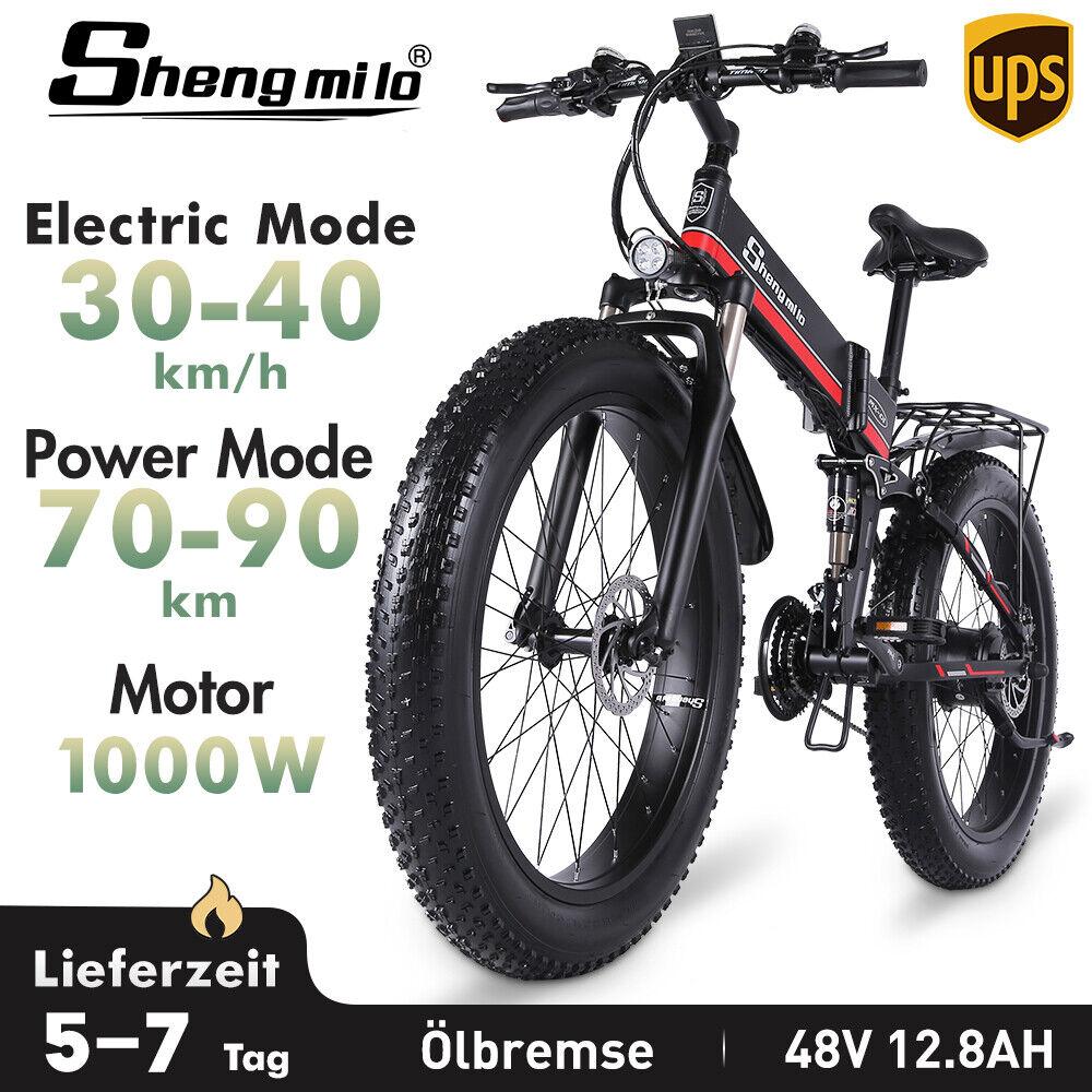 E Mountainbike 1000W Fat bike 26 Zoll Faltbares Elektrofahrrad 21G Shimano Ebike