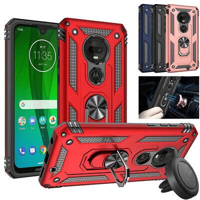 For Motorola Moto G7 Power Play Plus Spura Armor Stand Case Cover+Car Vent Mount (Fun Car Magnets)