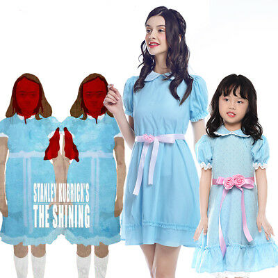 The Shining Grady Twins Blue Girl Kids Lolita Dress Cosplay Costume Halloween - Halloween Costumes Kid Girl