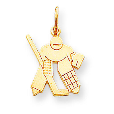 10K Yellow Gold Hockey Goalie Charm Pendant MSRP -
