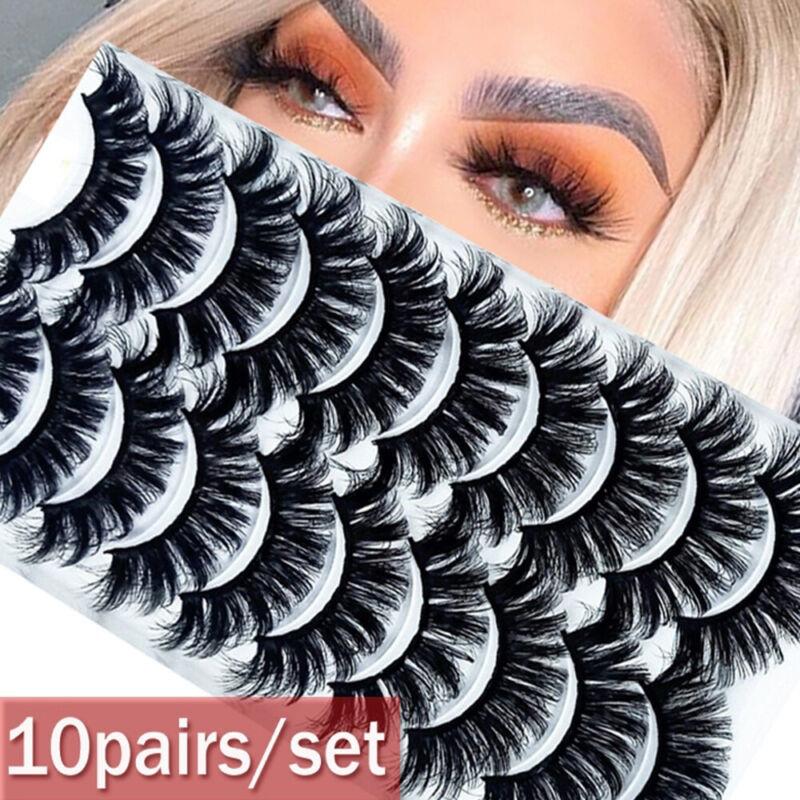 Handmade 8/10 Pairs 3D Mink False Eyelashes Wispy Cross Fluf
