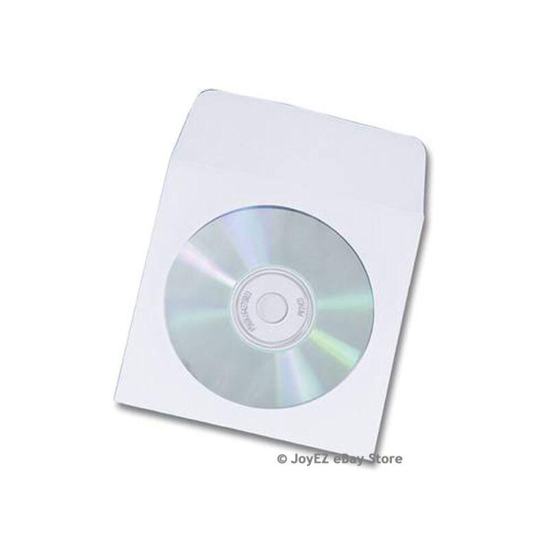 100 CD DVD Paper Sleeve  w/ Clear Window Fold Over Flip