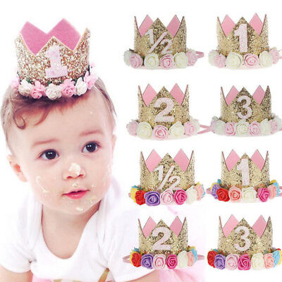 Prince Princess Crown Flower Birthday Party Hats Kids Adult Decor Hair Accessory (Adult Party Decor)