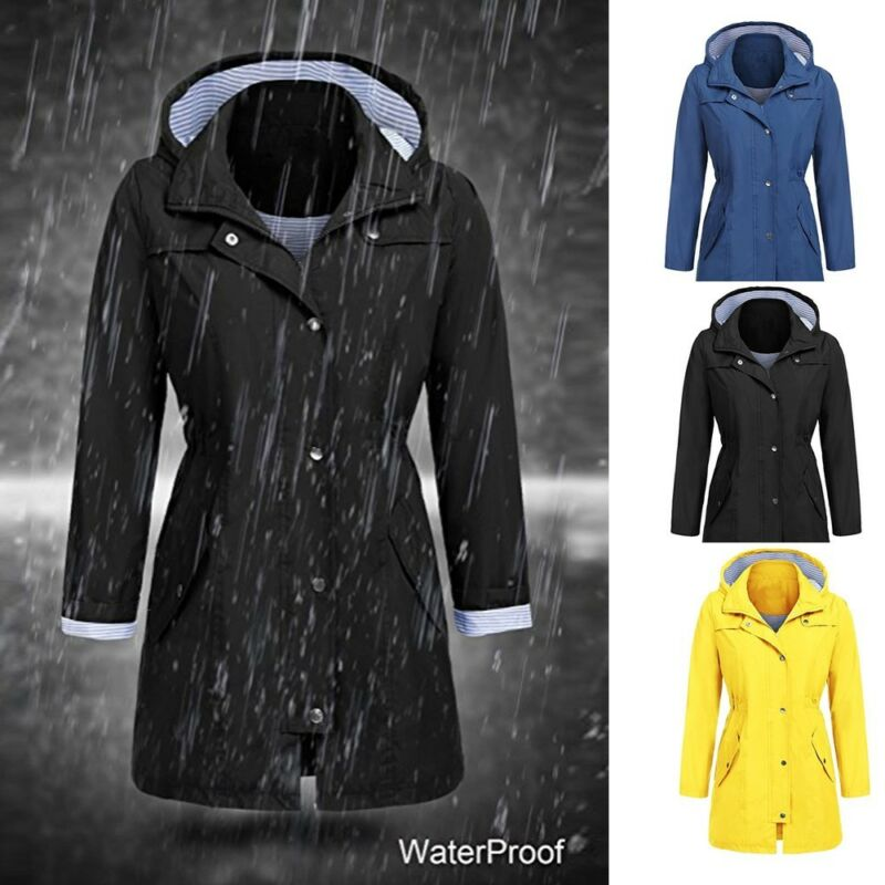 Women's Solid Tunic Jacket Outdoor Hoodie Waterproof Hooded Raincoat Windproof