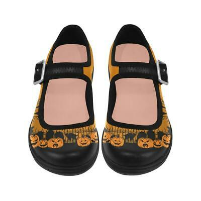 Sweet Midnight Trick or Treat Halloween Pumpkins Cemetery Goth Mary Janes Shoes (Halloween Treats Sweets)