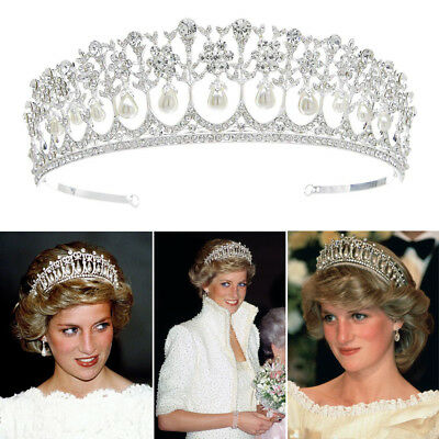 Pearl Tiara (Vintage Wedding Bridal Pearl Crown Diana Tiara Princess Hair)