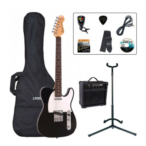 Encore E2 Electric Guitar Pack ~ Gloss Black inc Case, Amp, Stand and Tuner