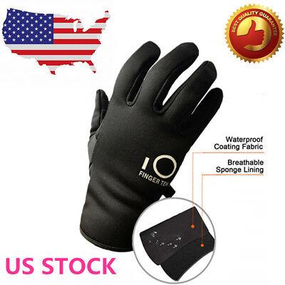 Winter Work Gloves Waterproof Insulated Warm Grip Men Women Mittens Snowboard - Black Nylon Adult Mens Gloves