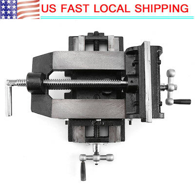 6 Cross Slide Drill Press Vise Metal Milling Vice 2-way Clamp Bench Mount Us