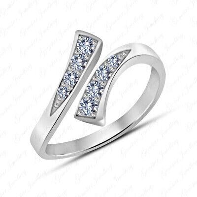 Diamond White Toe Ring (White Diamond Bypass Adjustable Toe Ring 925 Sterling Silver 14k White Gold)