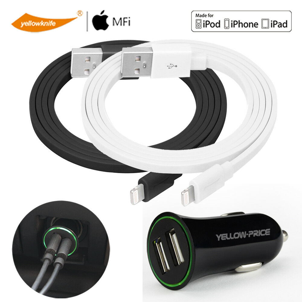 Portable Apple MFI Certified Lightning Cable & 2.4A Car Char