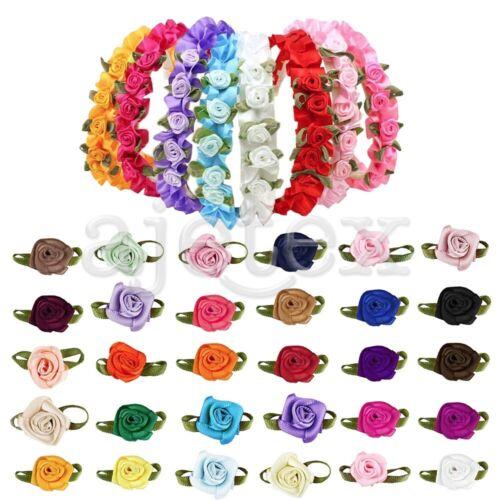 как выглядит Лента и бант 50pcs Satin Ribbon Rose Flower Craft Wedding Appliques Decor Wholesale FBRN31 фото