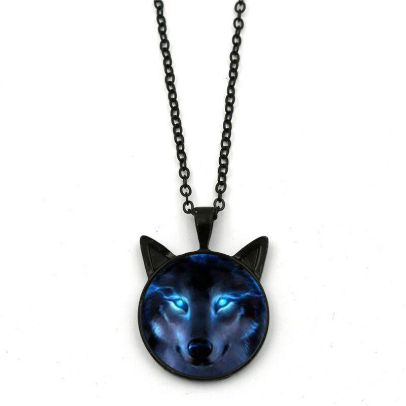 Fashion Men Women Nordic Wiccan Wolf Necklace Black Wolf Pen