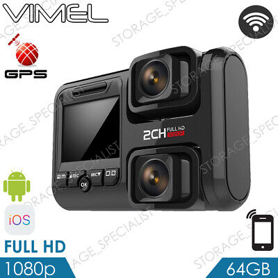 Dual Dash Camera 64GB GPS BEST WIFI Wireless Car Taxi Security Cam Truck (Best Dual Dash Cam)